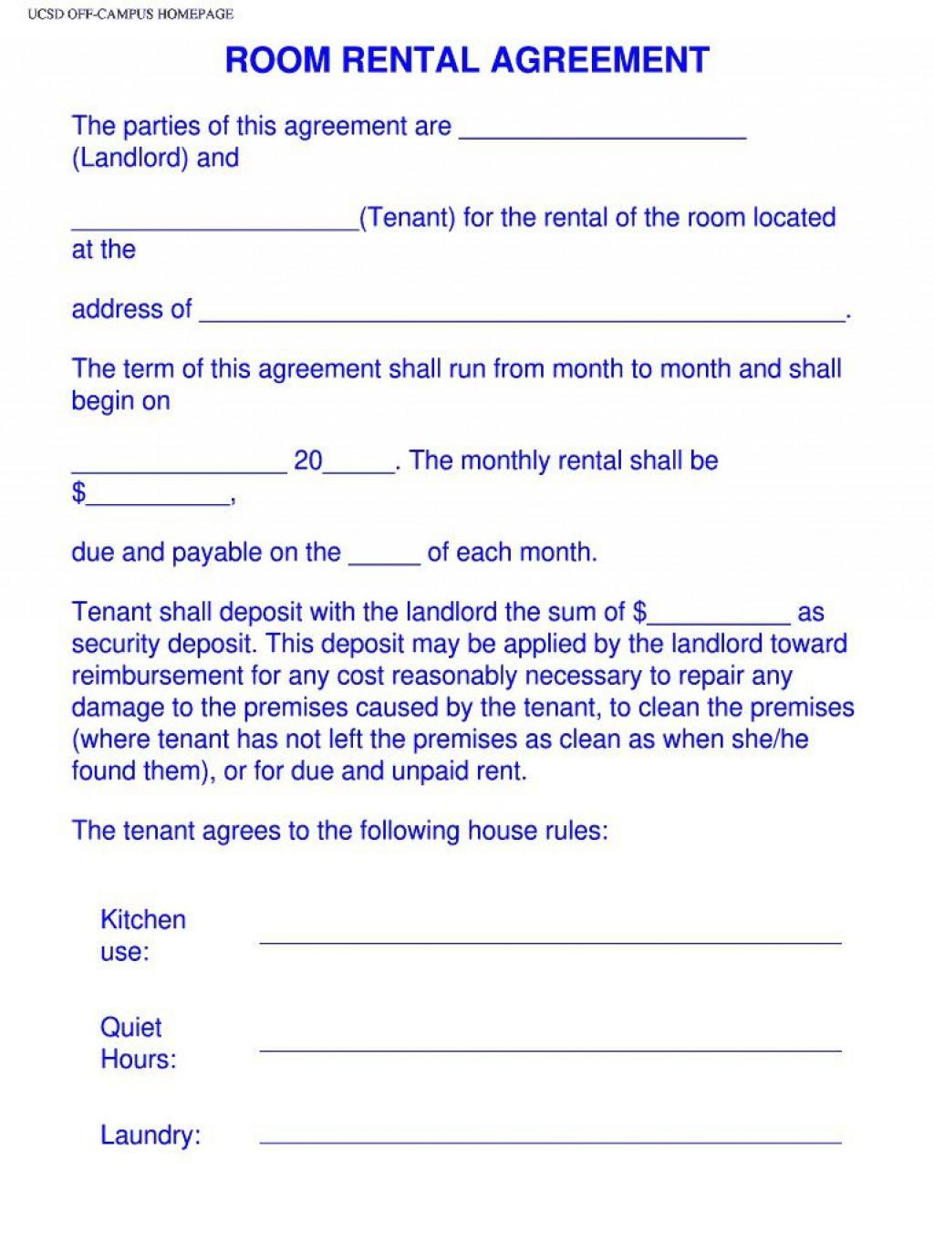 003 Magnificent Simple Room Rental Agreement Template Idea  FreeLarge