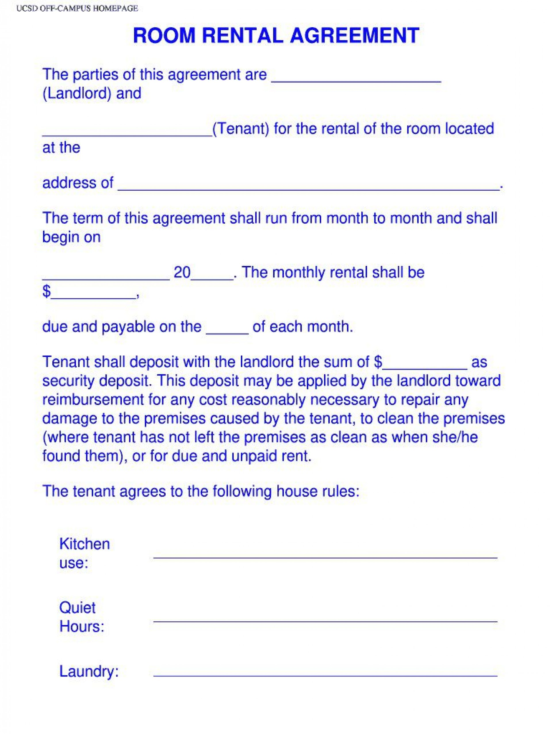 003 Magnificent Simple Room Rental Agreement Template Idea  Free1920