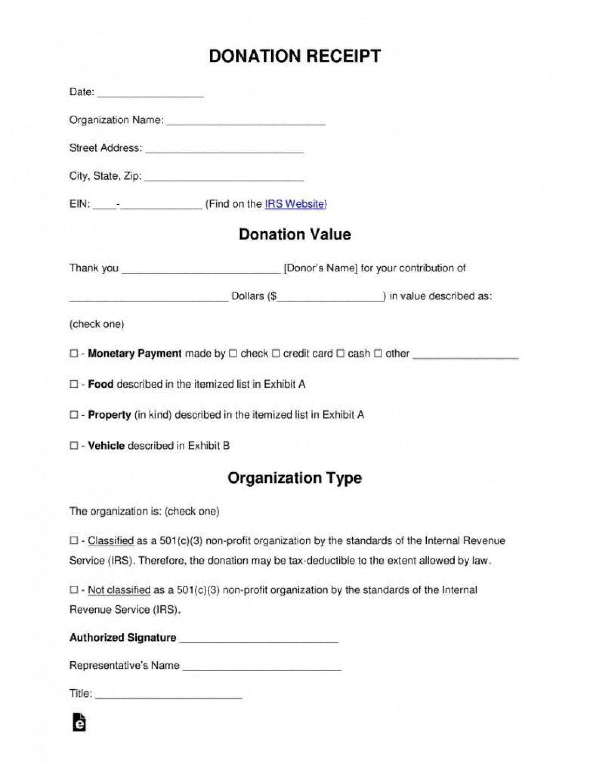 003 Magnificent Tax Deductible Donation Receipt Printable Idea 1920