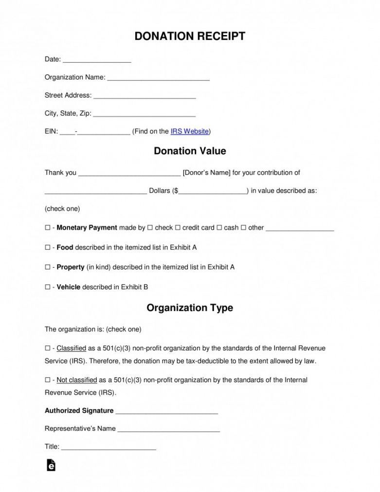 003 Magnificent Tax Deductible Donation Receipt Printable Idea Full