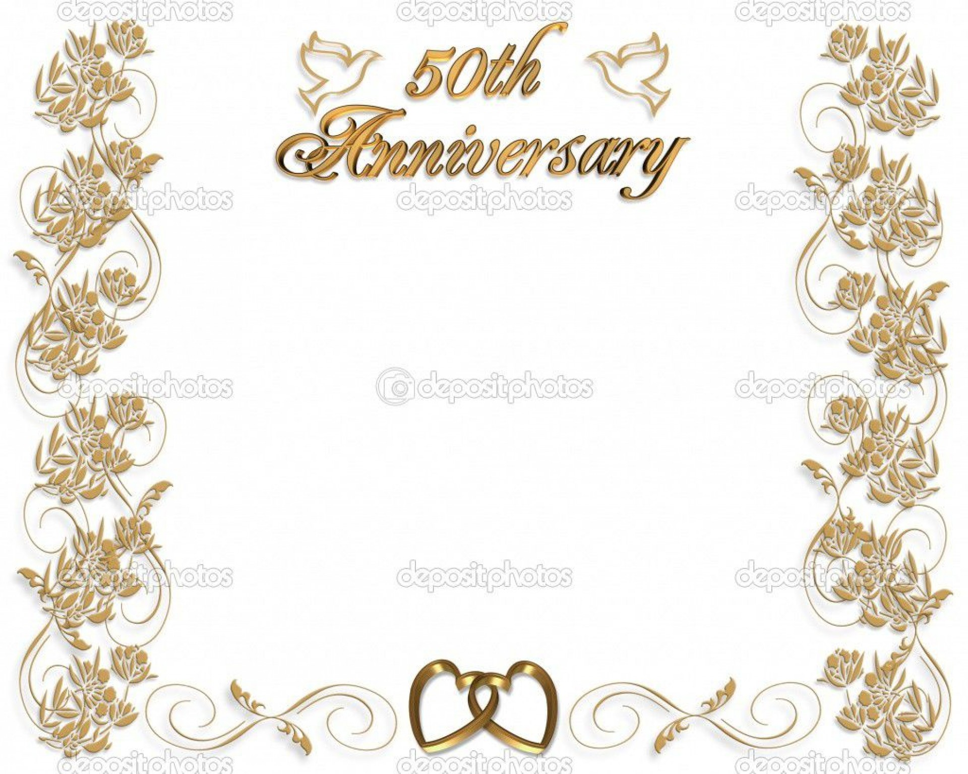 003 Marvelou 50th Wedding Anniversary Invitation Template Free Idea  Download Golden Microsoft Word1920