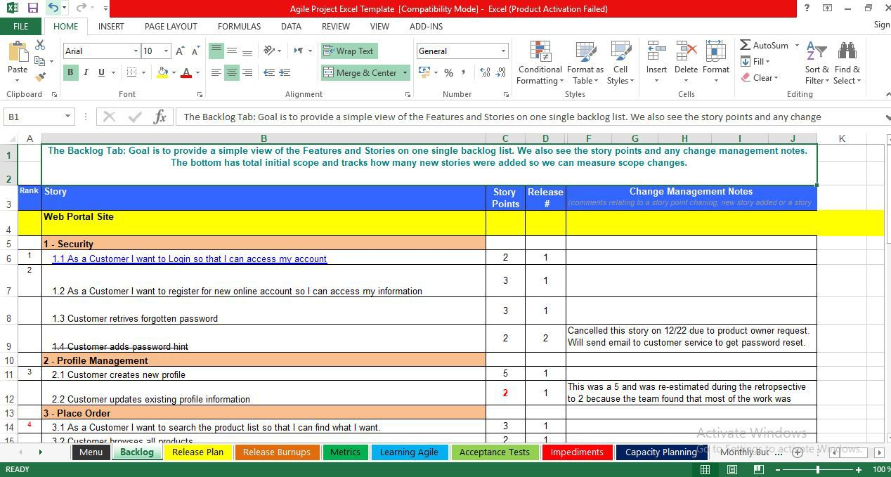 003 Marvelou Agile Project Management Template Excel Free Highest Clarity Full