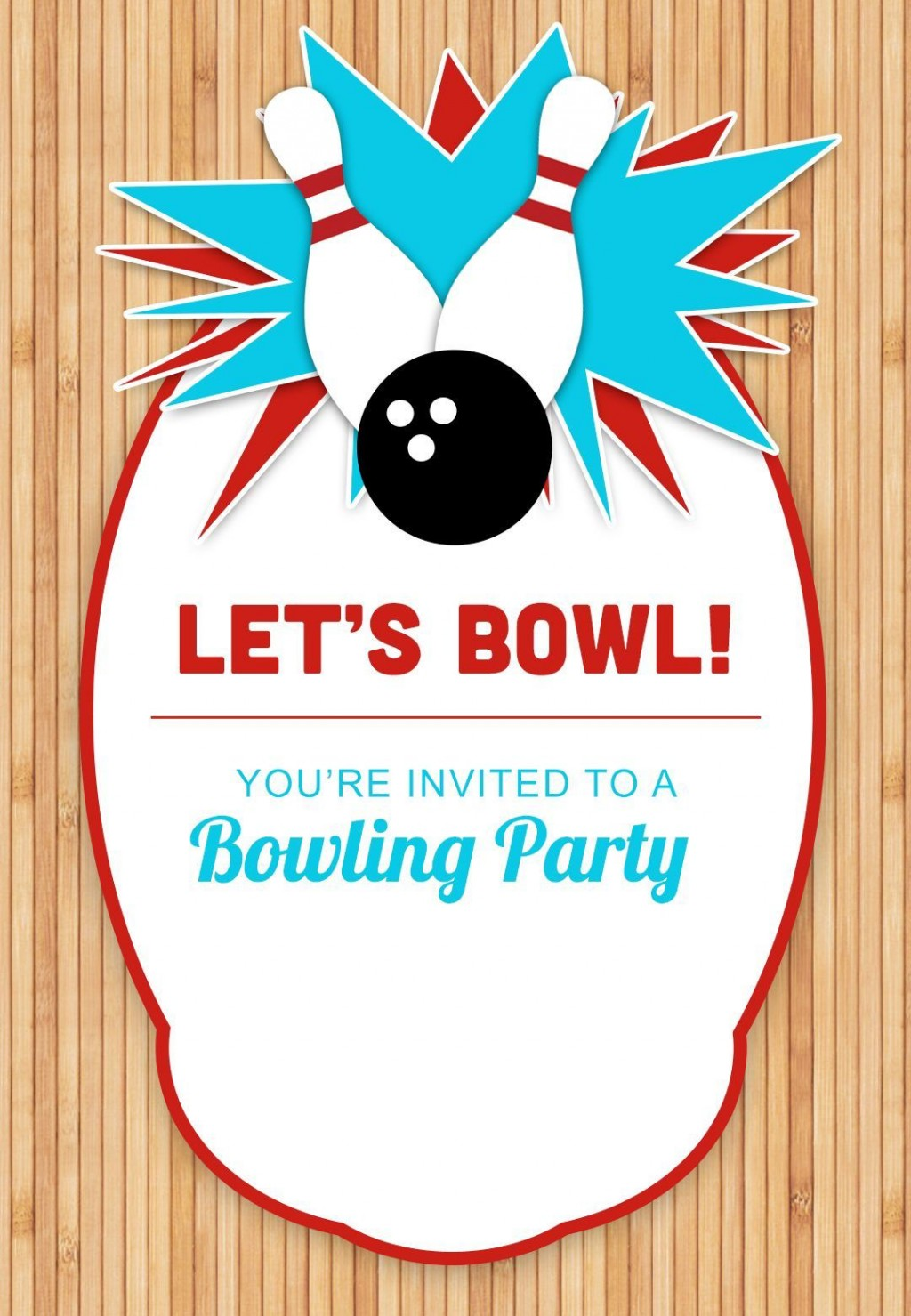 003 Marvelou Bowling Party Invite Printable Free Sample  Birthday Invitation GirlLarge
