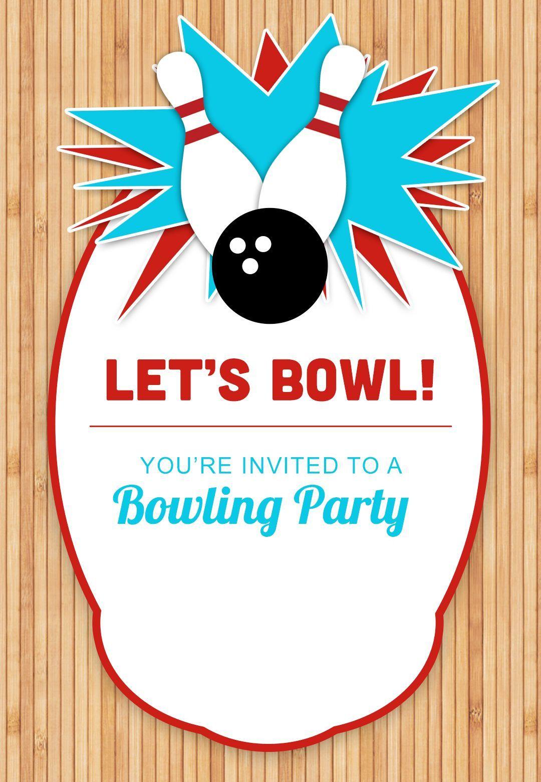 003 Marvelou Bowling Party Invite Printable Free Sample  Birthday InvitationFull