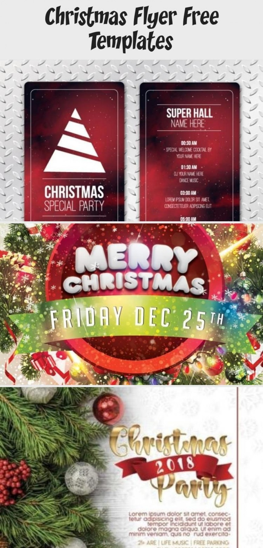 003 Marvelou Christma Flyer Template Free Picture  Work Party Xma Invitation