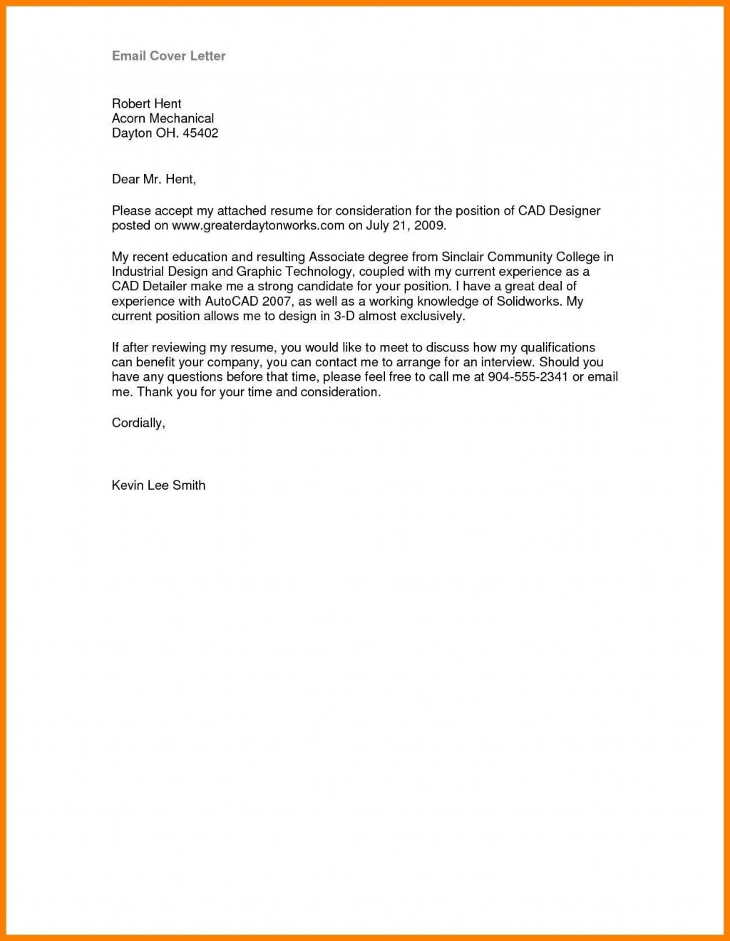003 Marvelou Email Cover Letter Example For Resume Design  Sample Through AttachedLarge