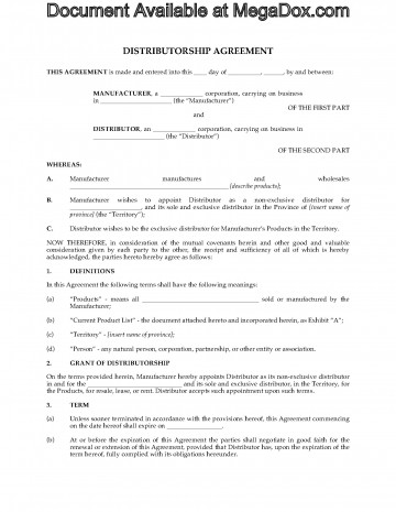 003 Marvelou Exclusive Distribution Agreement Template Canada Sample 360