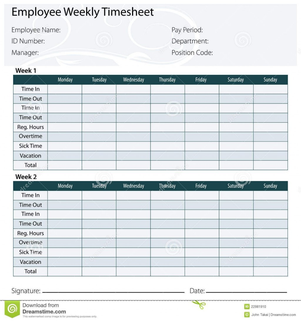 003 Marvelou Free Biweekly Timesheet Template Idea  Bi Weekly Time Card ExcelLarge