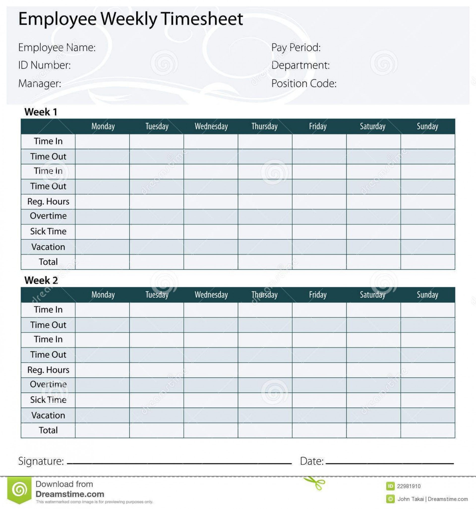 003 Marvelou Free Biweekly Timesheet Template Idea  Excel Bi Weekly Time Card1920