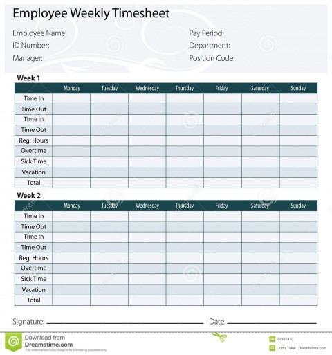 003 Marvelou Free Biweekly Timesheet Template Idea  Bi Weekly Time Card Excel480
