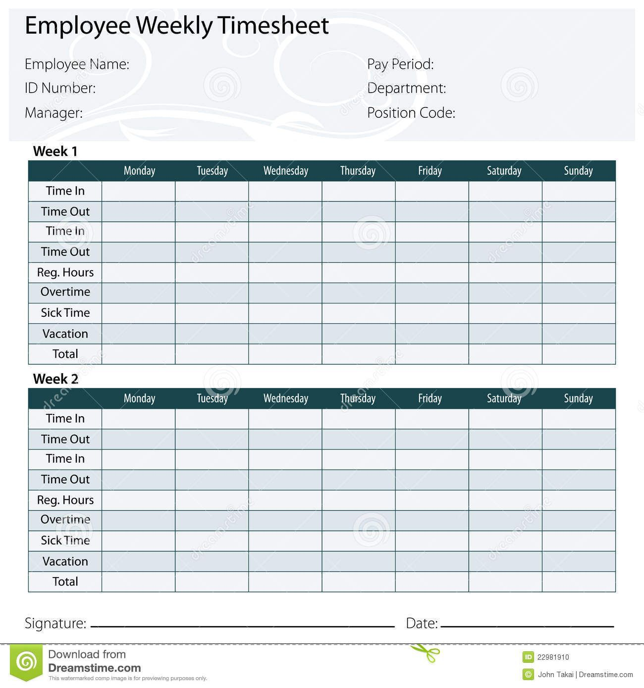 003 Marvelou Free Biweekly Timesheet Template Idea  Bi Weekly Time Card ExcelFull