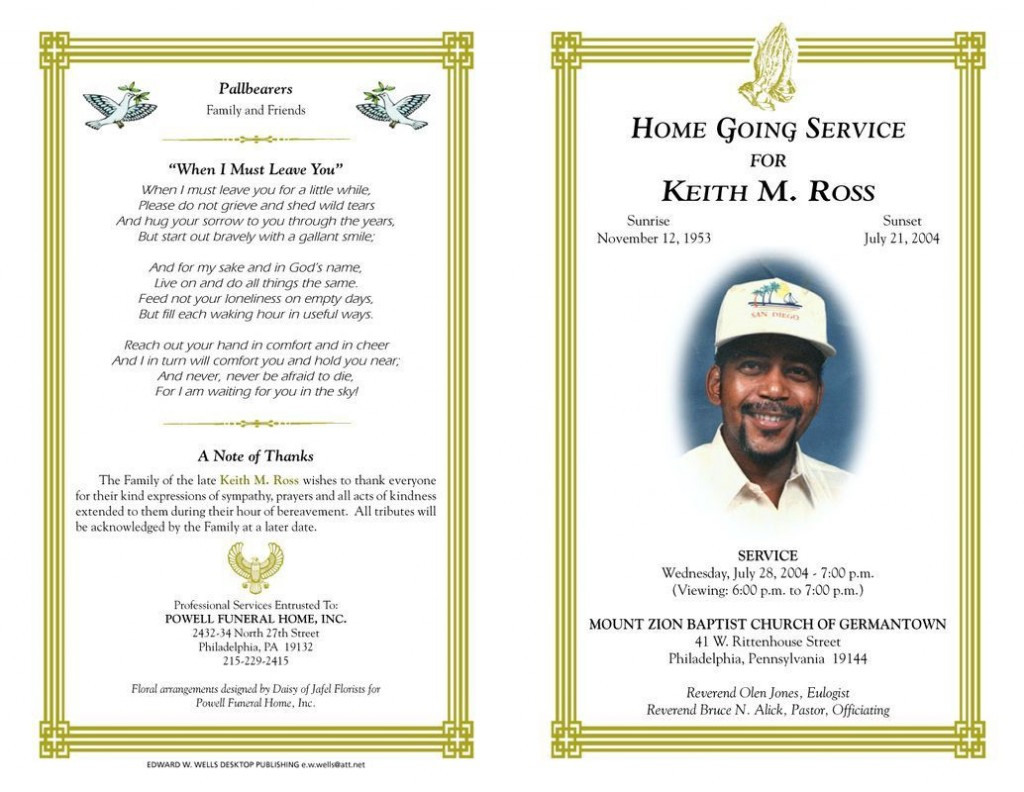 003 Marvelou Funeral Program Template Free Design  PrintableLarge