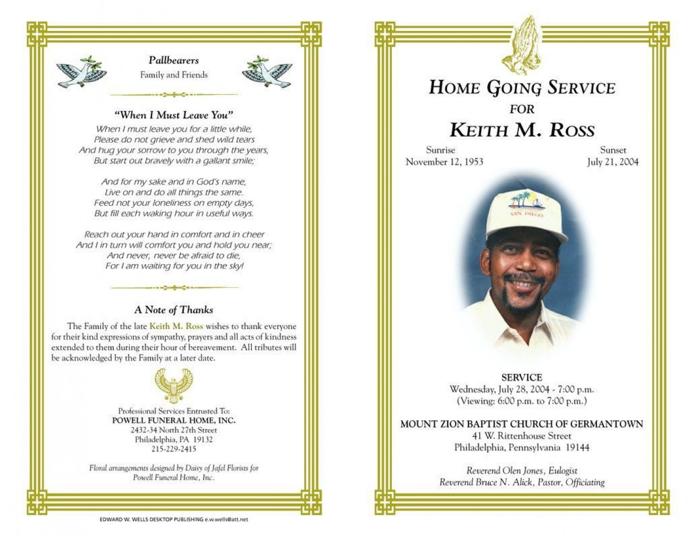 003 Marvelou Funeral Program Template Free Design  Printable1400