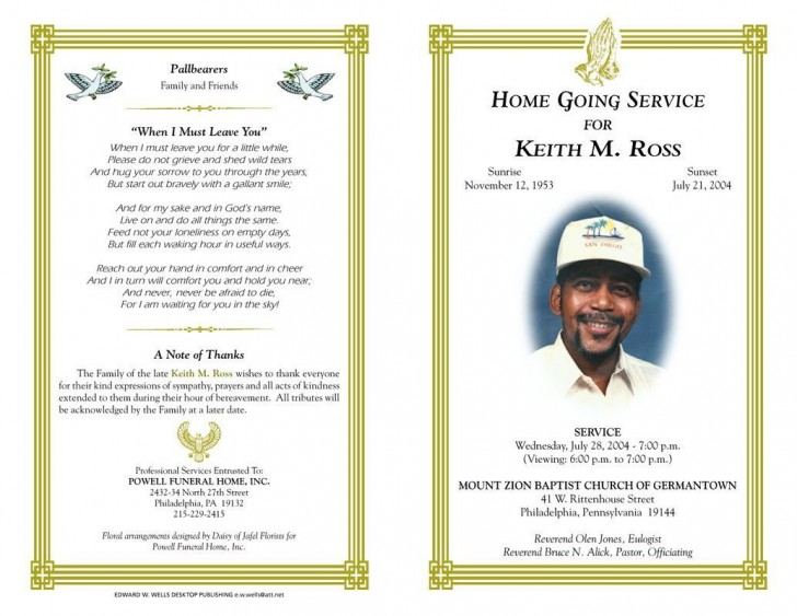 003 Marvelou Funeral Program Template Free Design  Printable728