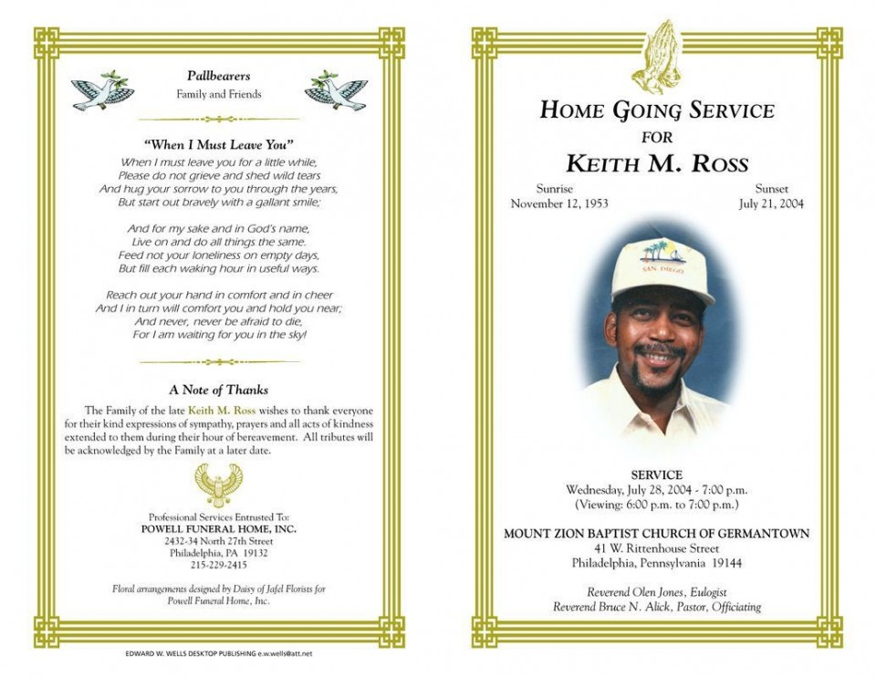 003 Marvelou Funeral Program Template Free Design  Printable960