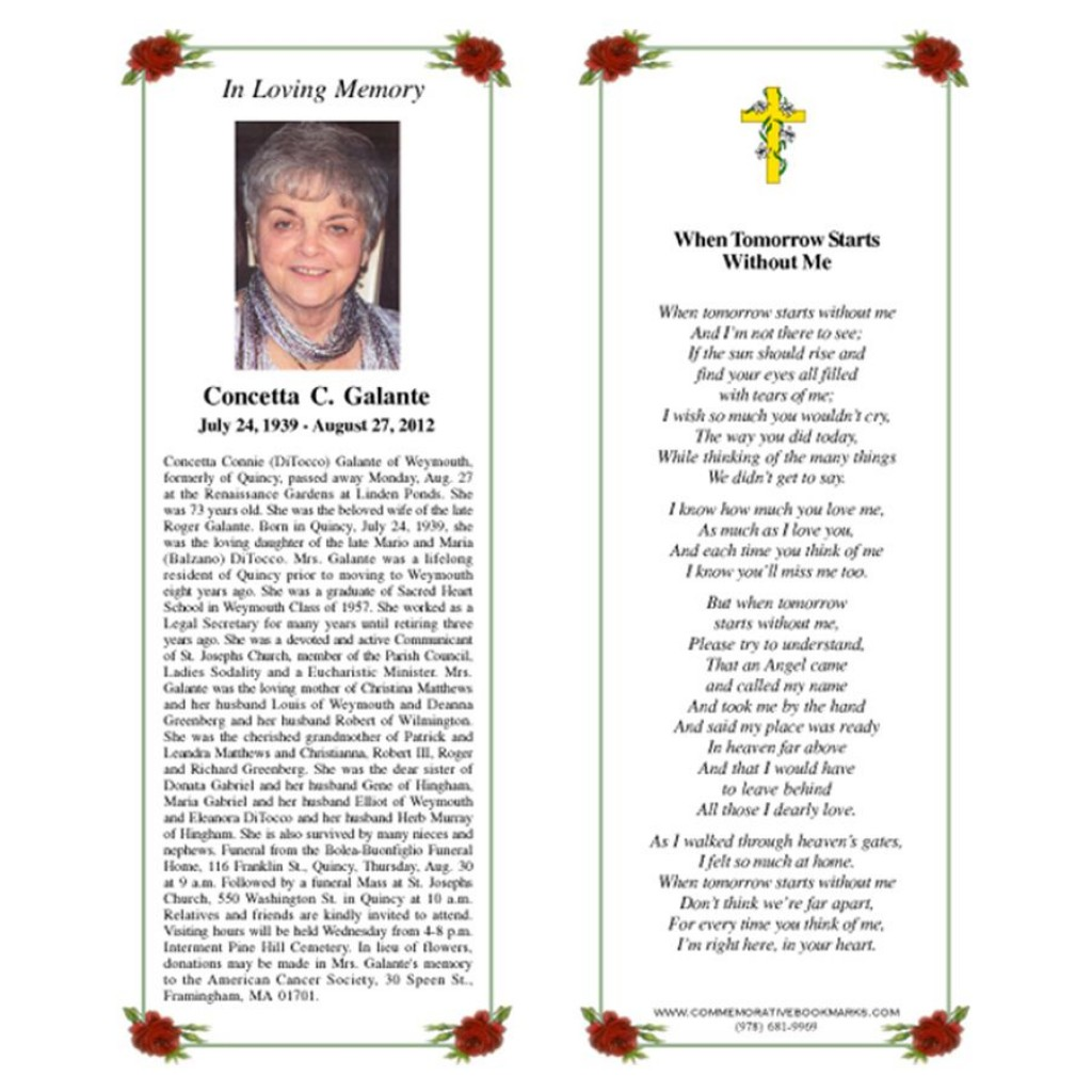 003 Marvelou In Loving Memory Bookmark Template Free Download Example Large