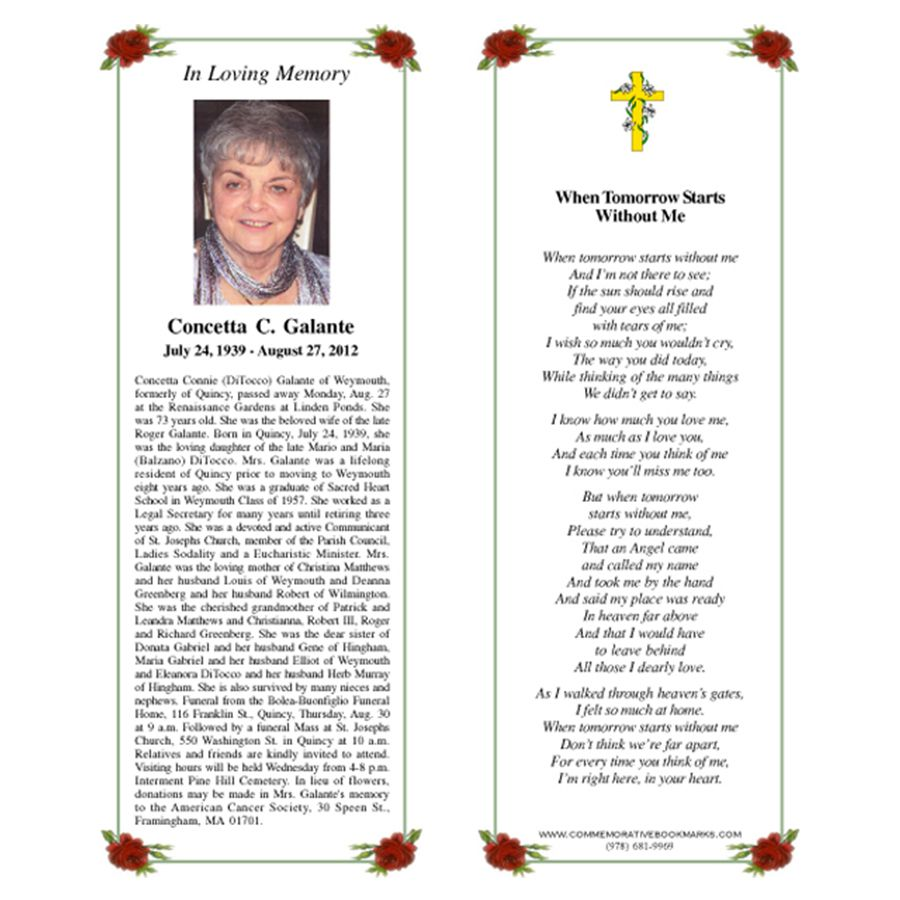 003 Marvelou In Loving Memory Bookmark Template Free Download Example Full