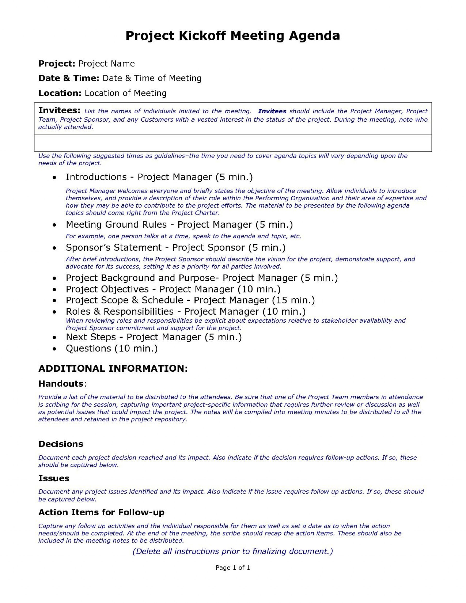 003 Marvelou Project Kickoff Meeting Template Highest Clarity  Management Agenda Construction Doc Email1920