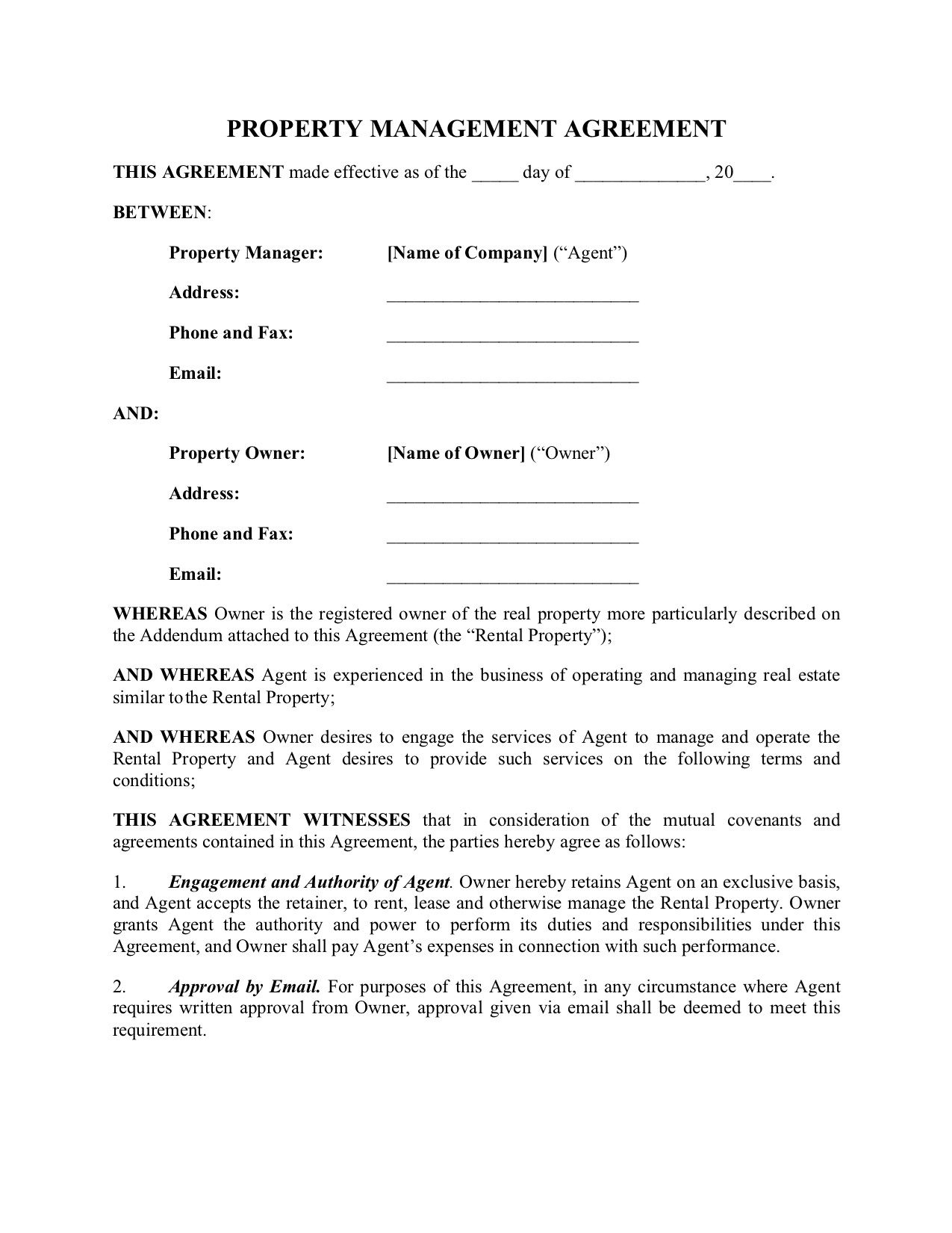 003 Marvelou Property Management Agreement Template Ontario Highest Quality  ContractFull