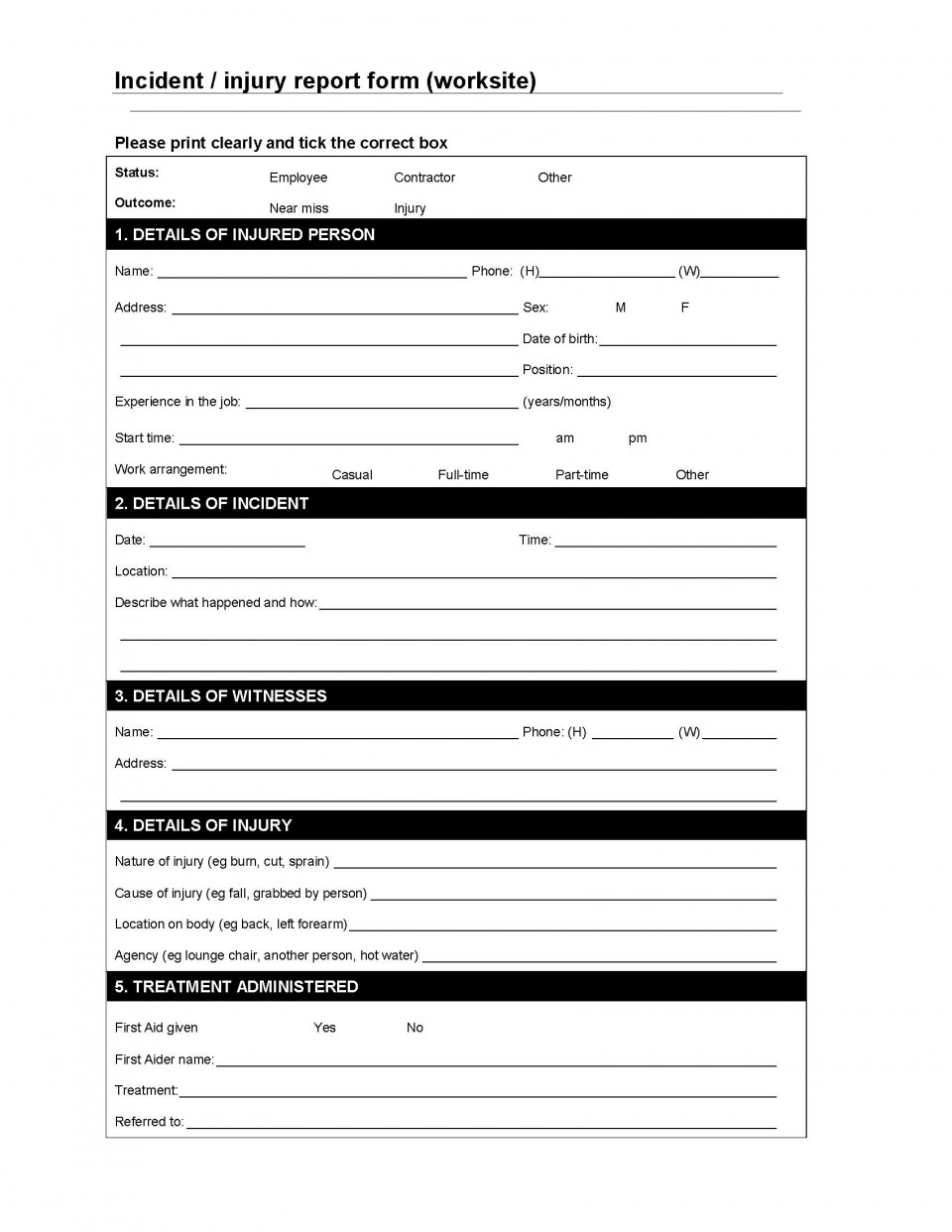003 Marvelou Workplace Injury Report Form Template Ontario Sample 960