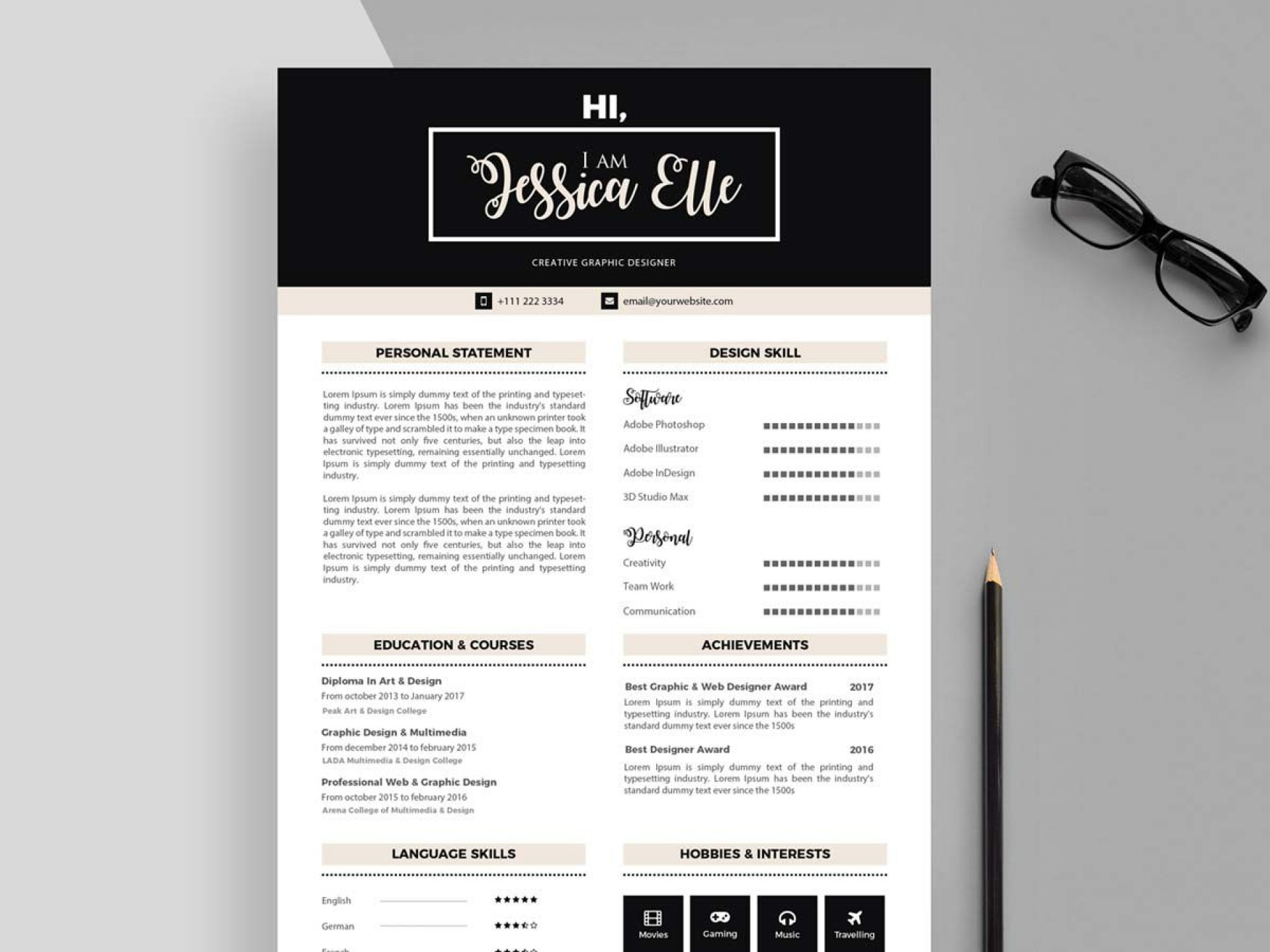 003 Outstanding Adobe Photoshop Resume Template Free Photo  Download1920