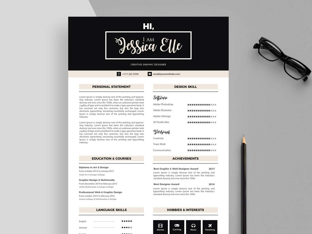003 Outstanding Adobe Photoshop Resume Template Free Photo  DownloadFull