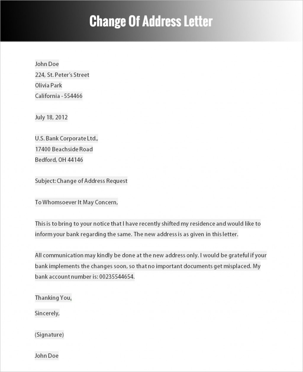 003 Outstanding Change Of Addres Letter Template Concept  Templates For Busines FreeLarge