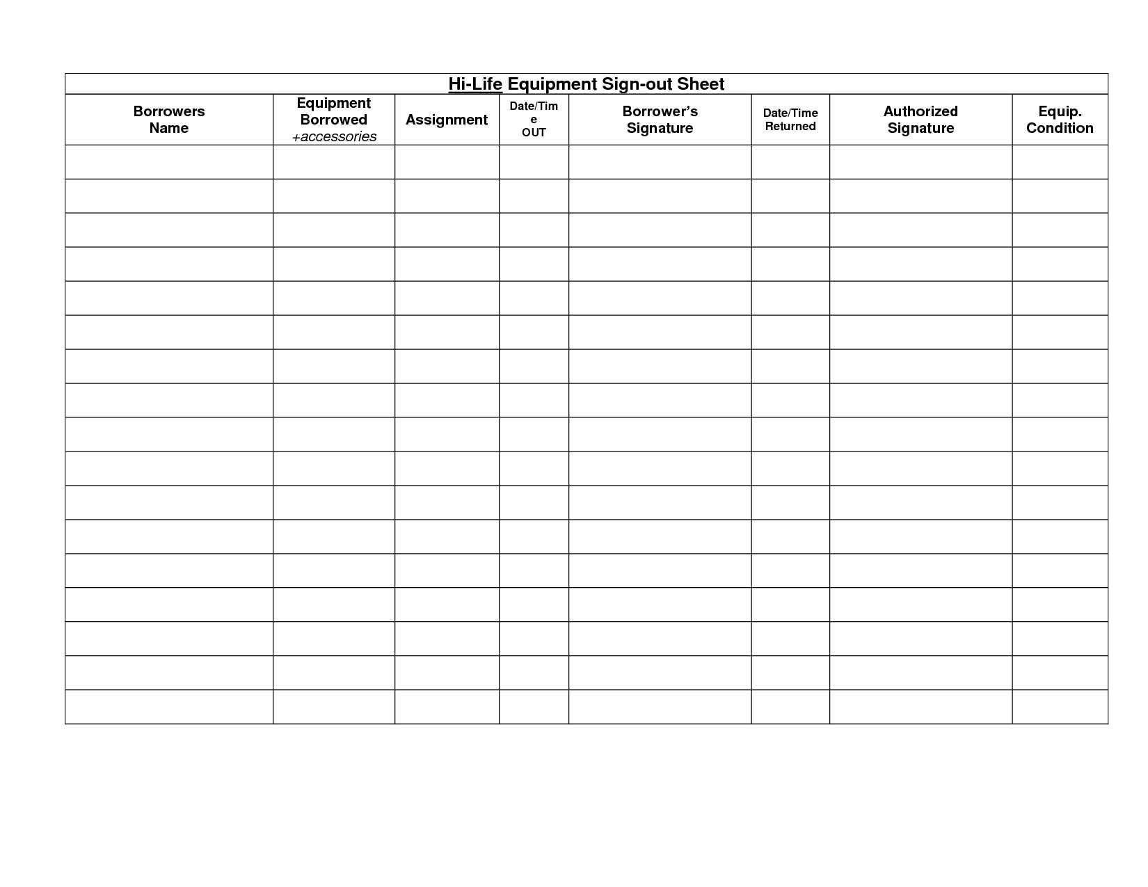 003 Outstanding Equipment Sign Out Sheet Template Picture  Pdf Free PrintableFull