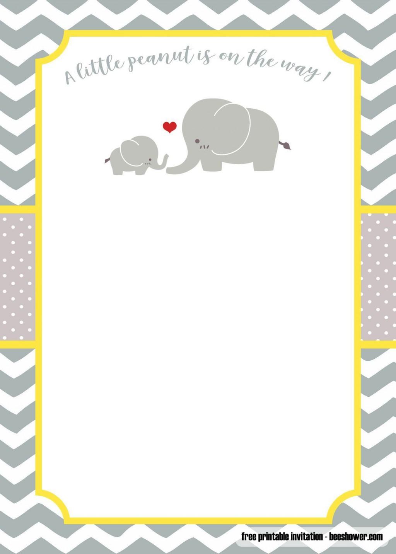 003 Outstanding Free Printable Elephant Baby Shower Invitation Template Inspiration  Templates EditableLarge
