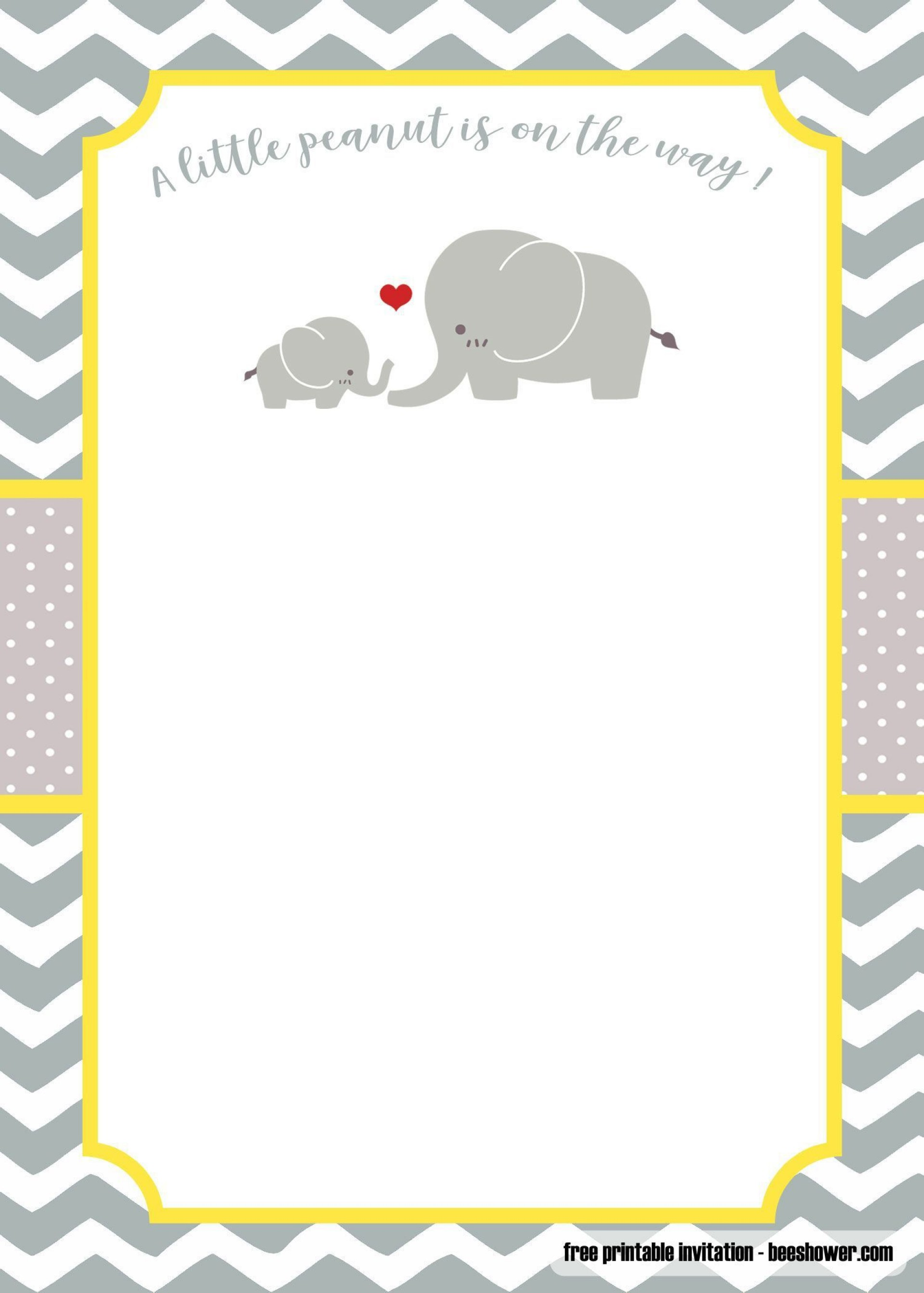 003 Outstanding Free Printable Elephant Baby Shower Invitation Template Inspiration  Templates Editable1920