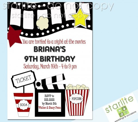 003 Outstanding Free Printable Movie Ticket Birthday Party Invitation Concept 480