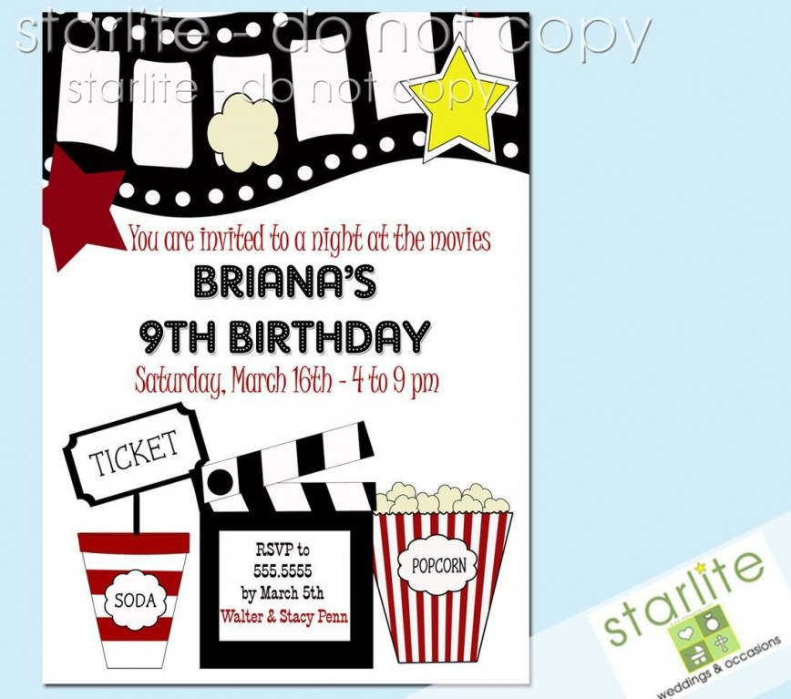 003 Outstanding Free Printable Movie Ticket Birthday Party Invitation Concept 868