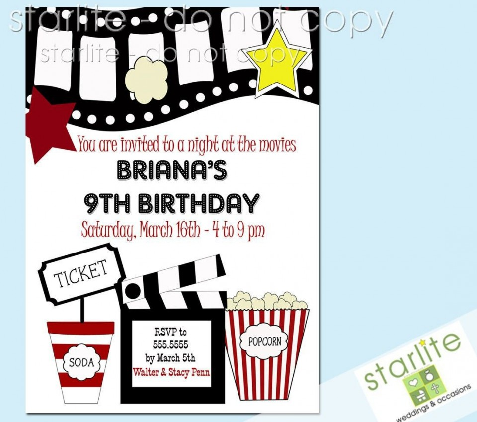 003 Outstanding Free Printable Movie Ticket Birthday Party Invitation Concept 960