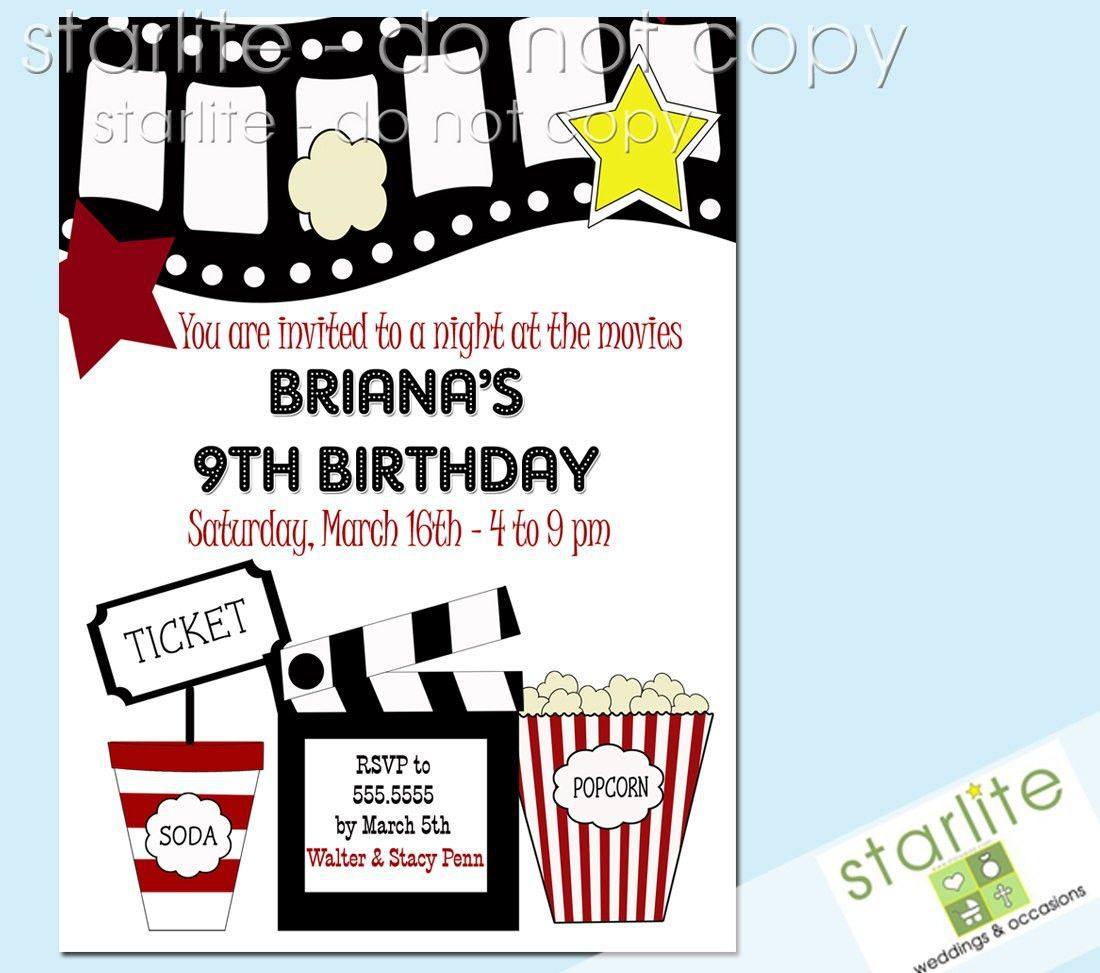 003 Outstanding Free Printable Movie Ticket Birthday Party Invitation Concept Full