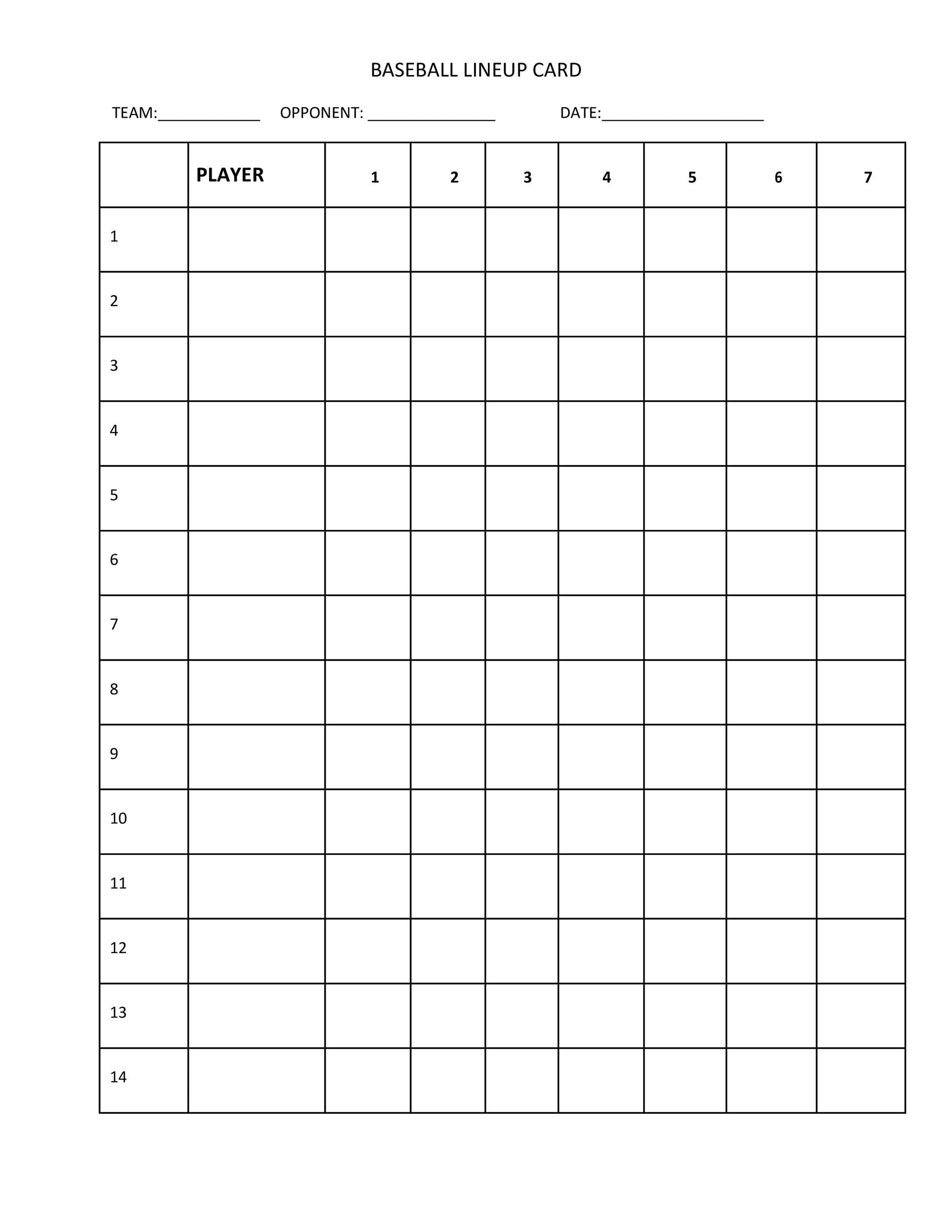 003 Outstanding Little League Lineup Card Template High Definition  BaseballFull