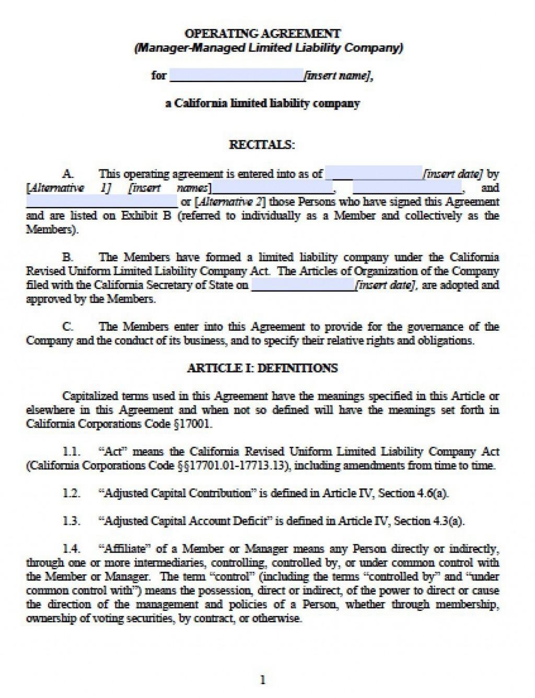 003 Outstanding Llc Partnership Agreement Template Image  Free OperatingLarge