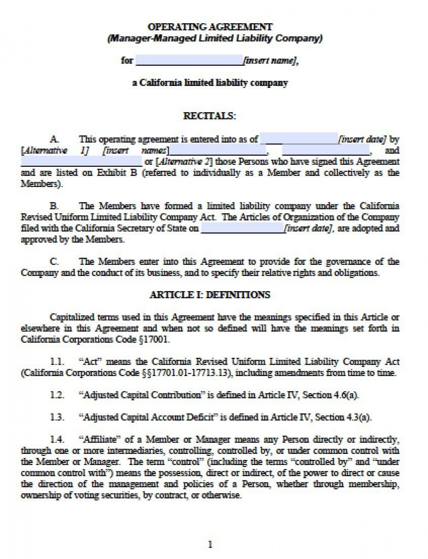 003 Outstanding Llc Partnership Agreement Template Image  Free Operating1400