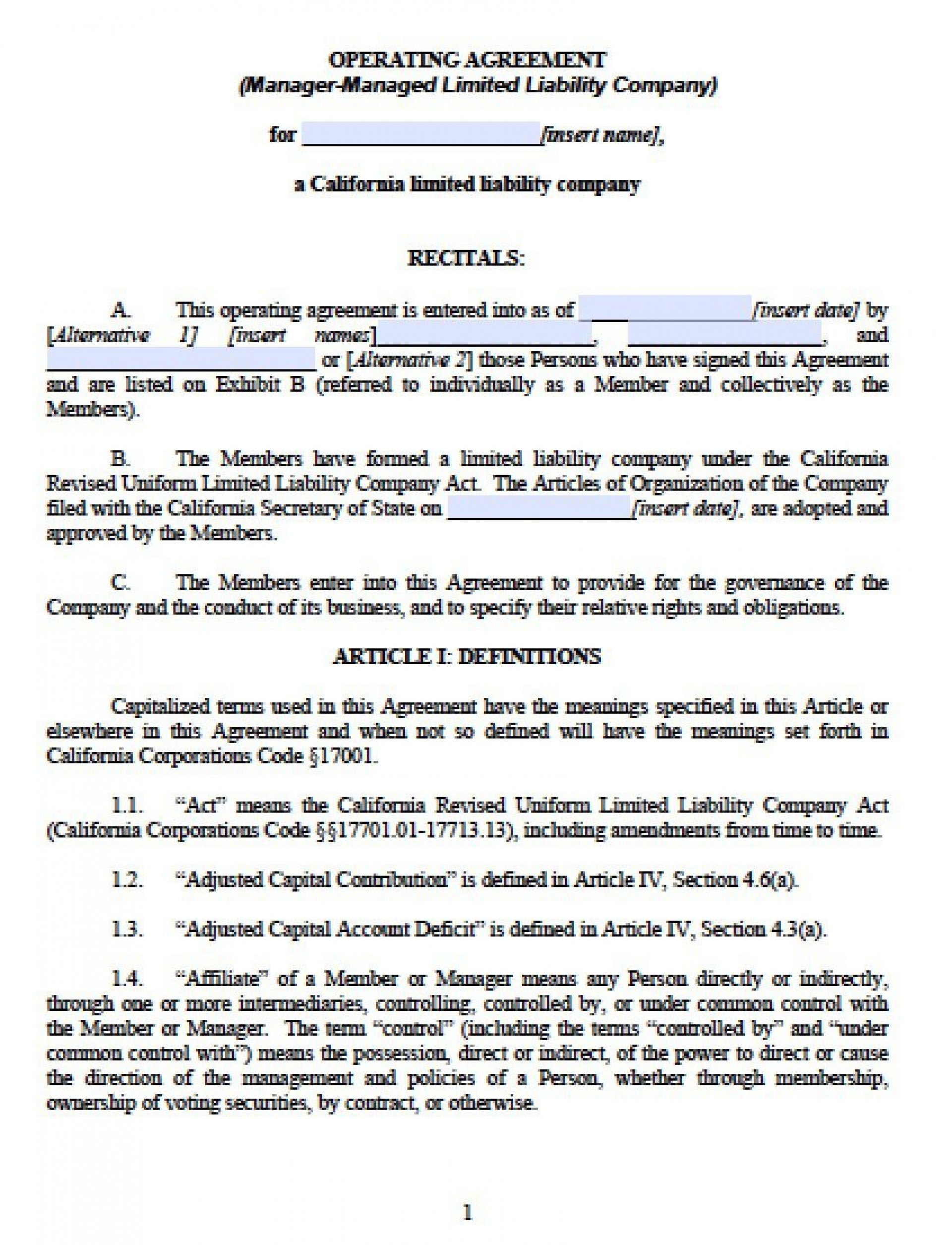 003 Outstanding Llc Partnership Agreement Template Image  Free Operating1920