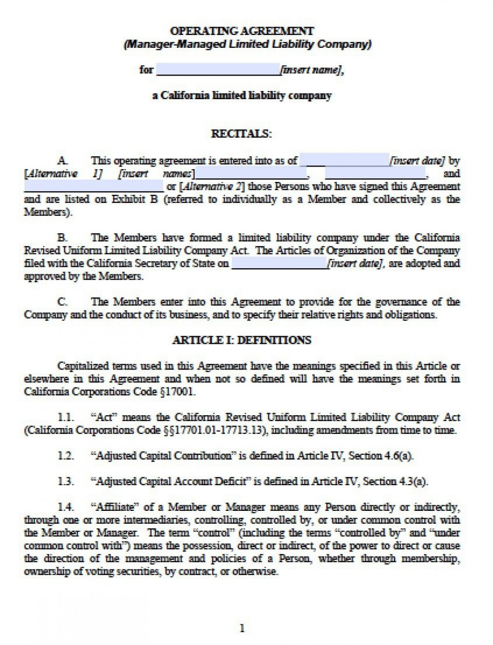 003 Outstanding Llc Partnership Agreement Template Image  Free Operating960