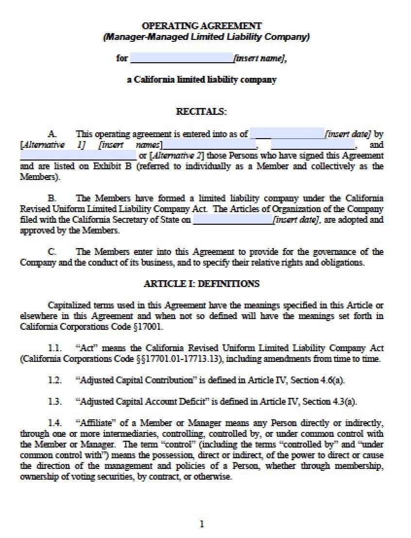 003 Outstanding Llc Partnership Agreement Template Image  Free OperatingFull