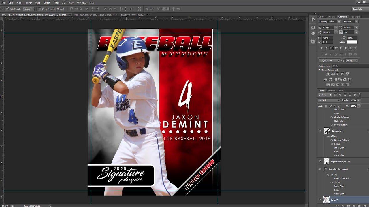 003 Outstanding Photoshop Baseball Magazine Cover Template Inspiration Full