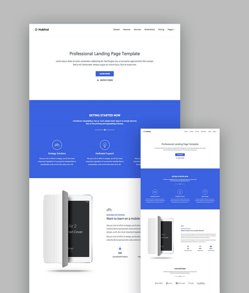 003 Outstanding Responsive Landing Page Template Concept  Free Html With Flexbox Html5Full
