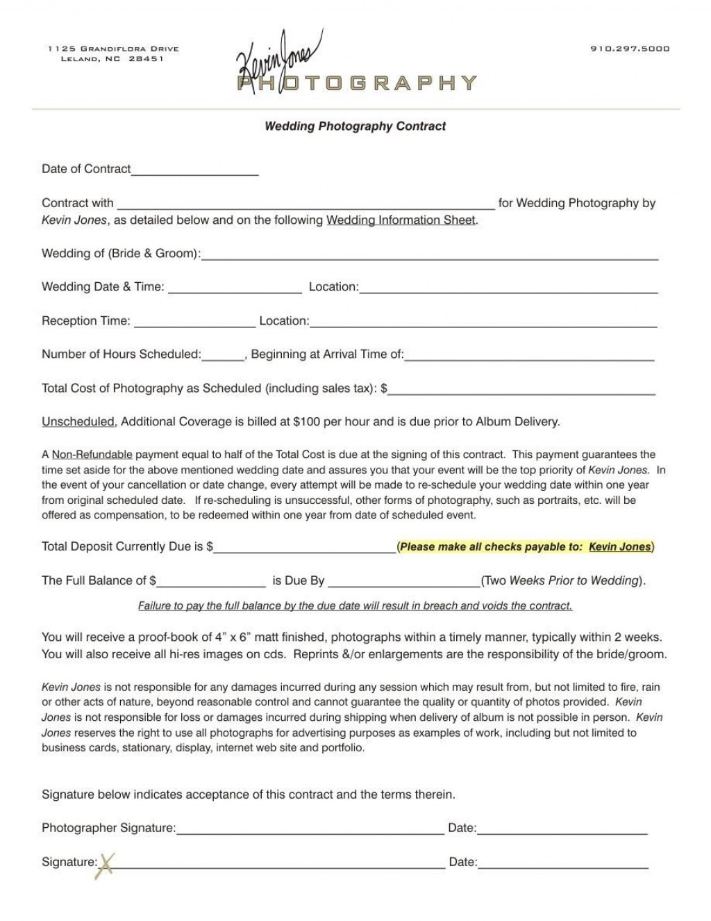 003 Outstanding Wedding Photographer Contract Template Free High Definition  Simple Photography WordLarge