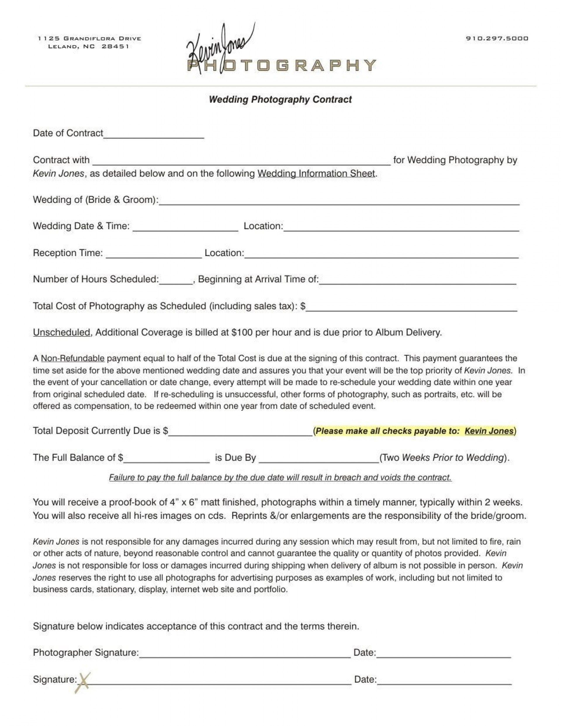 003 Outstanding Wedding Photographer Contract Template Free High Definition  Simple Photography Word1920