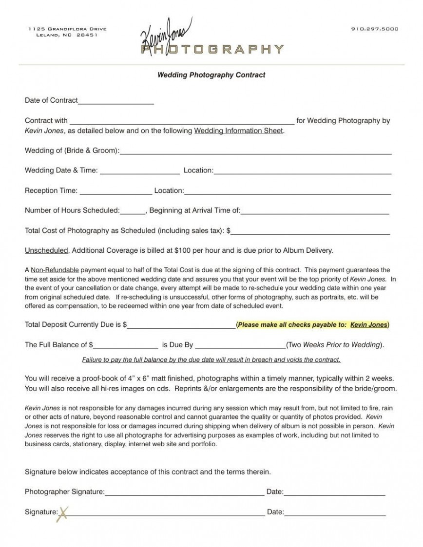 003 Outstanding Wedding Photographer Contract Template Free High Definition  Photography Uk Simple