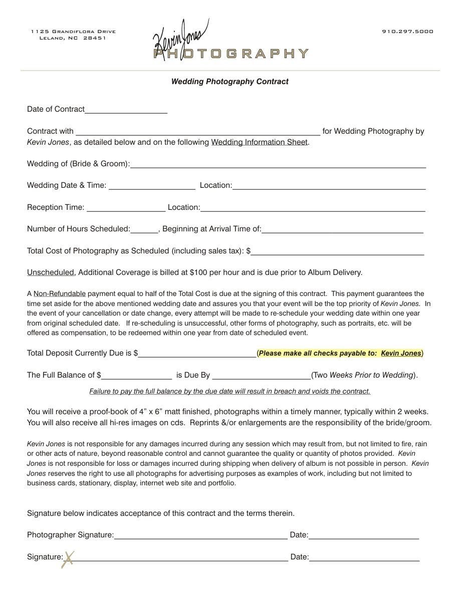 003 Outstanding Wedding Photographer Contract Template Free High Definition  Simple Photography WordFull