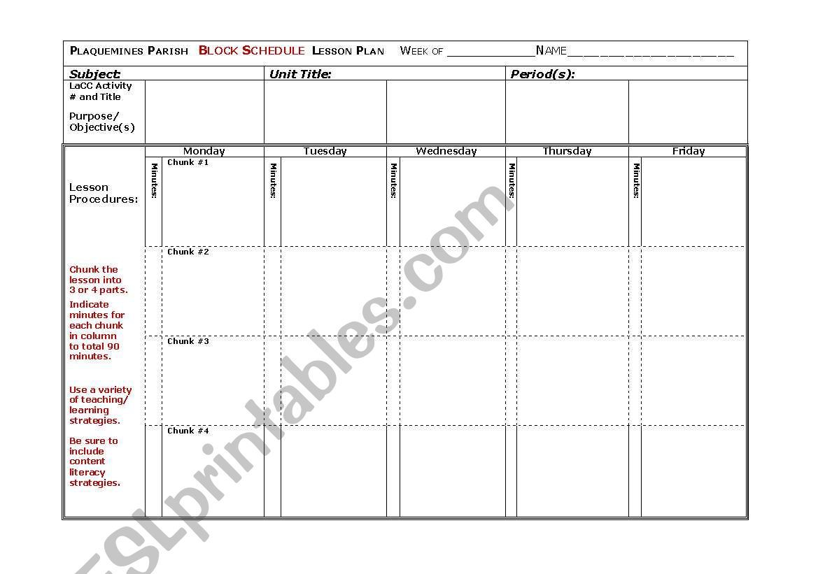 003 Outstanding Weekly Lesson Plan Template High Resolution  Blank Free School Danielson Google DocFull
