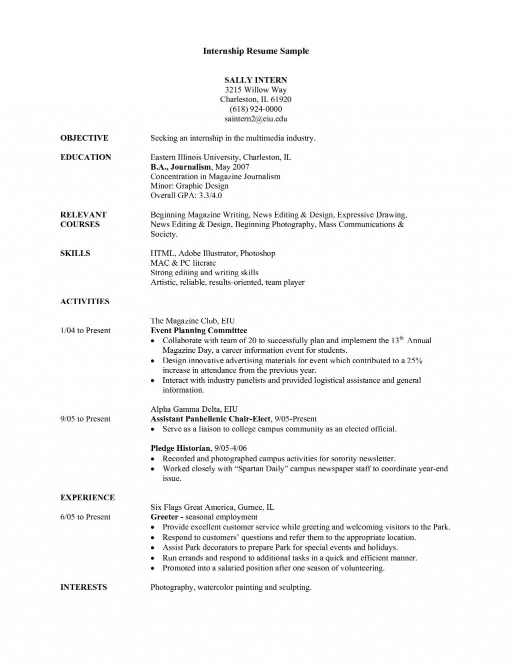 003 Phenomenal College Internship Resume Template Highest Quality  Student Job For DownloadLarge