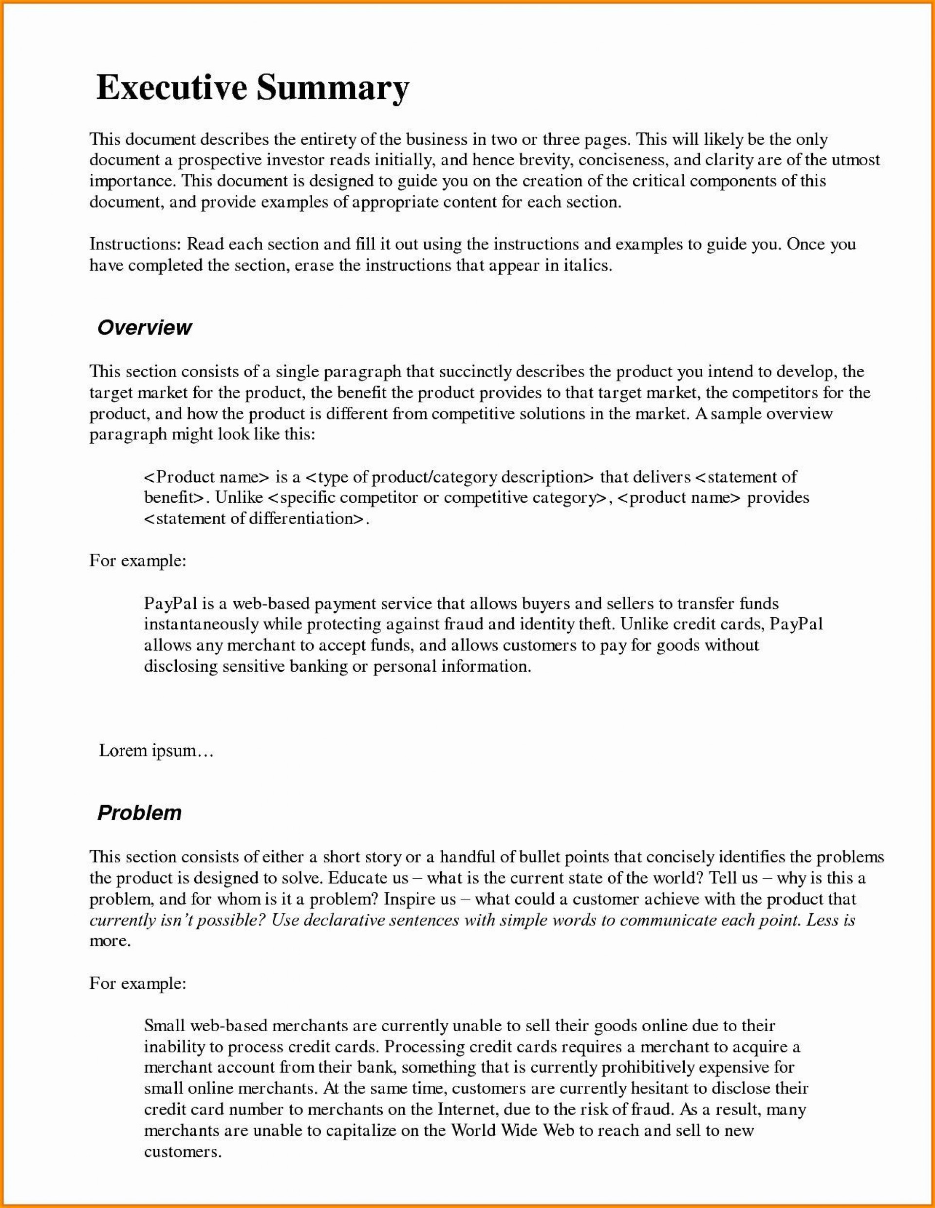 003 Phenomenal Executive Summary Word Template Free Download High Def 1920
