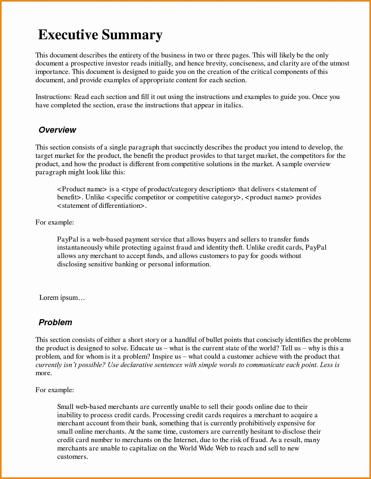 003 Phenomenal Executive Summary Word Template Free Download High Def Full
